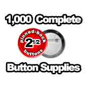1,000 x Pinned Back Button Supplies 2-1/2 inch