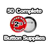 50 x Pinned Back Button Supplies 2-1/2 inch