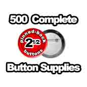 500 x Pinned Back Button Supplies 2-1/2 inch