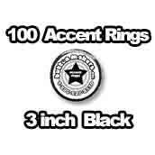 100 x Accent Rings Black 3 in.