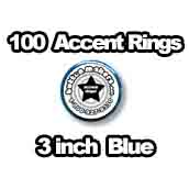 100 x Accent Rings Blue 3 in.