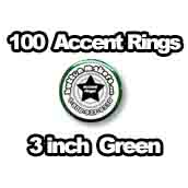 100 x Accent Rings Green 3 in.