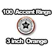 100 x Accent Rings Orange 3 in.