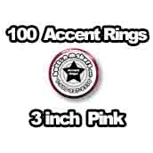 100 x Accent Rings Pink 3 in.