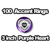 100 x Accent Rings Purple Heart 3 in.
