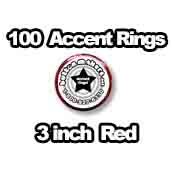 100 x Accent Rings Red 3 in.