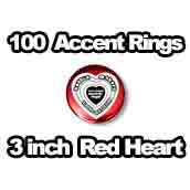 100 x Accent Rings Red Heart 3 in.
