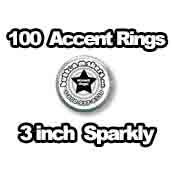 100 x Accent Rings Sparkly (holographic) 3 in.