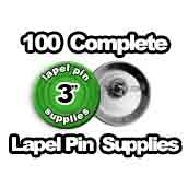 100 x Lapel Pin Supplies 3 inch