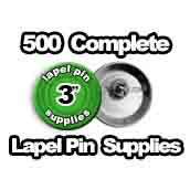 500 x Lapel Pin Supplies 3 inch