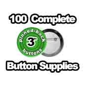 100 x Pinned Back Button Supplies 3 inch