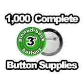 1,000 x Pinned Back Button Supplies 3 inch