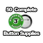50 x Pinned Back Button Supplies 3 inch