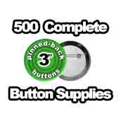 500 x Pinned Back Button Supplies 3 inch