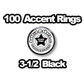 100 x Accent Rings Black 3-1/2 in.