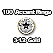 100 x Accent Rings Gold 3-1/2 in.