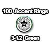 100 x Accent Rings Green 3-1/2 in.