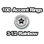 100 x Accent Rings Rainbow 3-1/2 in.