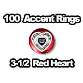 100 x Accent Rings Red Heart 3-1/2 in.
