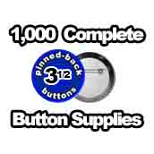 1,000 x Pinned Back Button Supplies 3-1/2 inch