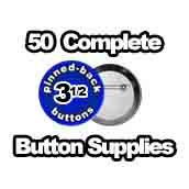50 x Pinned Back Button Supplies 3-1/2 inch