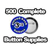 500 x Pinned Back Button Supplies 3-1/2 inch