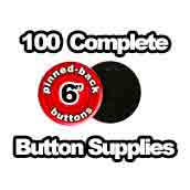 100 x Pinned Back Button Supplies 6 inch