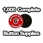 1,000 x Pinned Back Button Supplies 6 inch