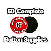 50 x Pinned Back Button Supplies 6 inch