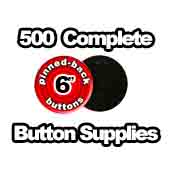 500 x Pinned Back Button Supplies 6 inch
