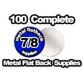 100 x Metal Flat Back Supplies 7/8th inch