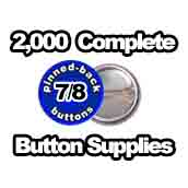 2,000 x Pinned Back Button Supplies 7/8 inch