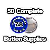 50 x Pinned Back Button Supplies 7/8 inch