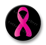 Printable Button Art  -  Pink & Black Ribbon
