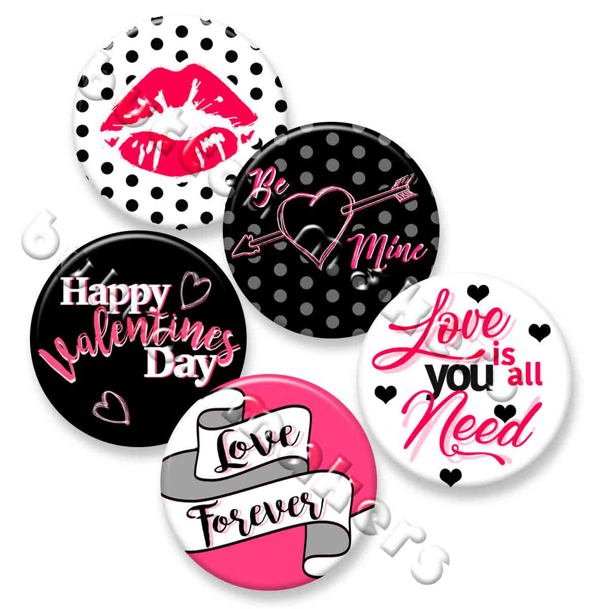 Printable Button Art  - Valentines Day Pack