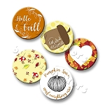 Printable Button Art  - Autumn Designs