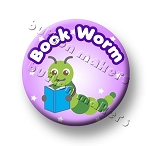 Printable Button Art  - Bookworm