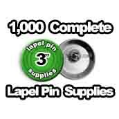 1,000 x Lapel Pin Supplies 3 inch