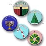 Printable Button Art  - Winter Holidays Design Pack